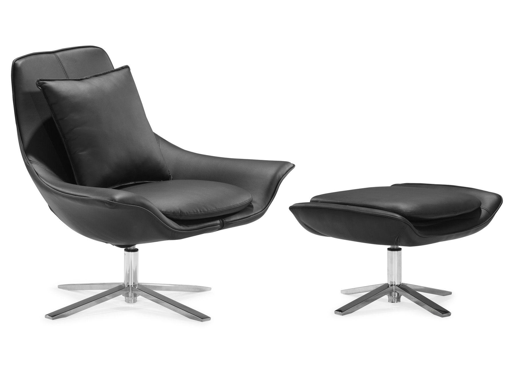 zuo modern vital lounge chair with ottoman black 500154 500156