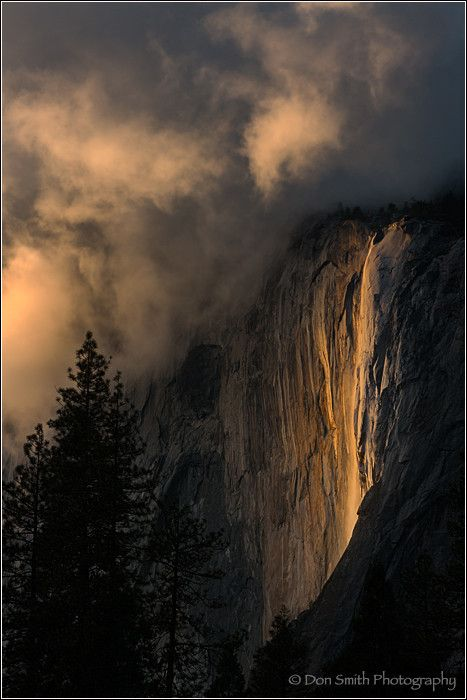 Horsetail Fall and Clouds, Yosemite NP by Don Smith on 500px