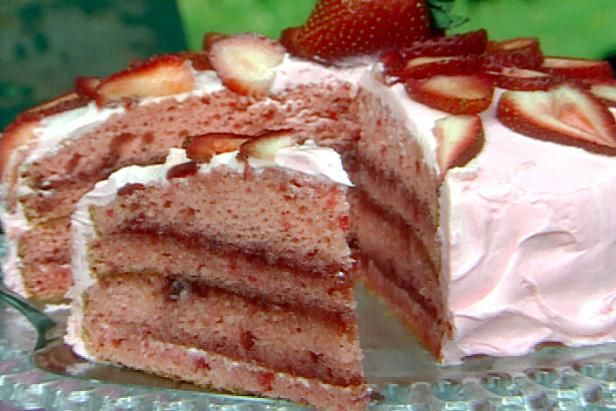 Get Strawberry Creme Cake Recipe from Food Network