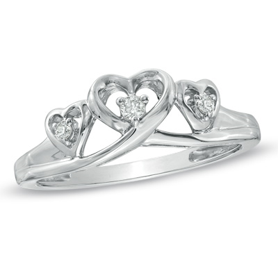 Zales Heart-Shaped Blue Topaz and Diamond Accent Three Stone Promise Ring in 10K White Gold YsB6UKTN