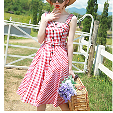 Red plaid dress large