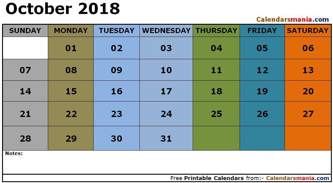 october 2018 calendar landscape october calendar 2018 holiday calendar 2018 calendar excel 2018