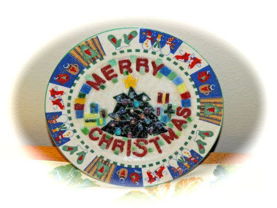 Merry Christmas Plate-stained glass mosaic by MosaicsofGlass For