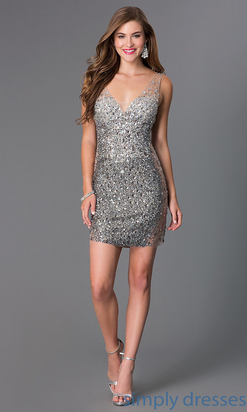 Shop JVN by Jovani beaded short silver party dresses at