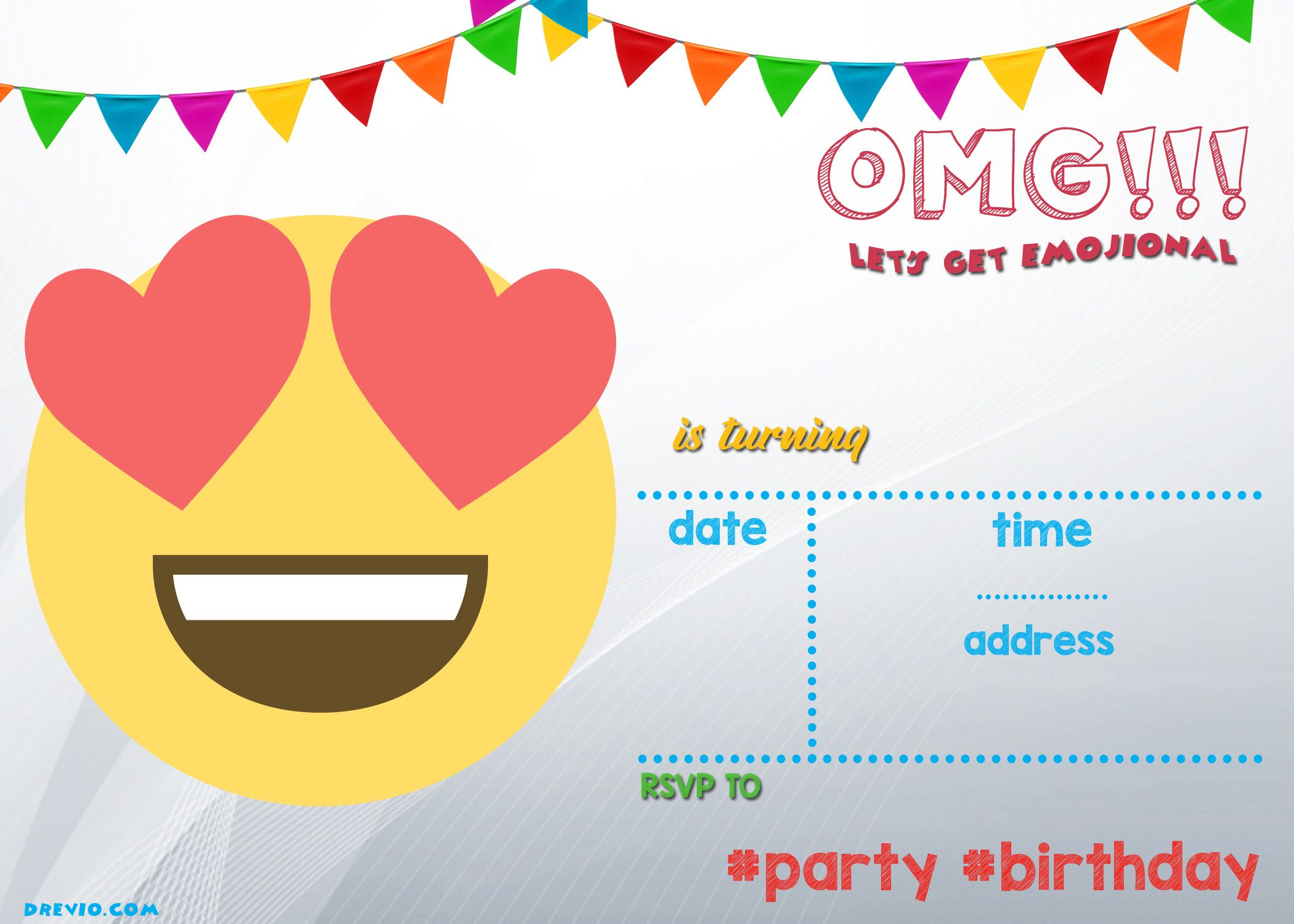 Get FREE Printable Emoji Invitation Template