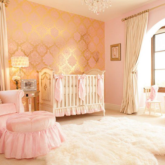 Interior Design Elegant Pink White Gray Baby Girl Room: Soft White Walls And Furnishings Complement The Pale Pink