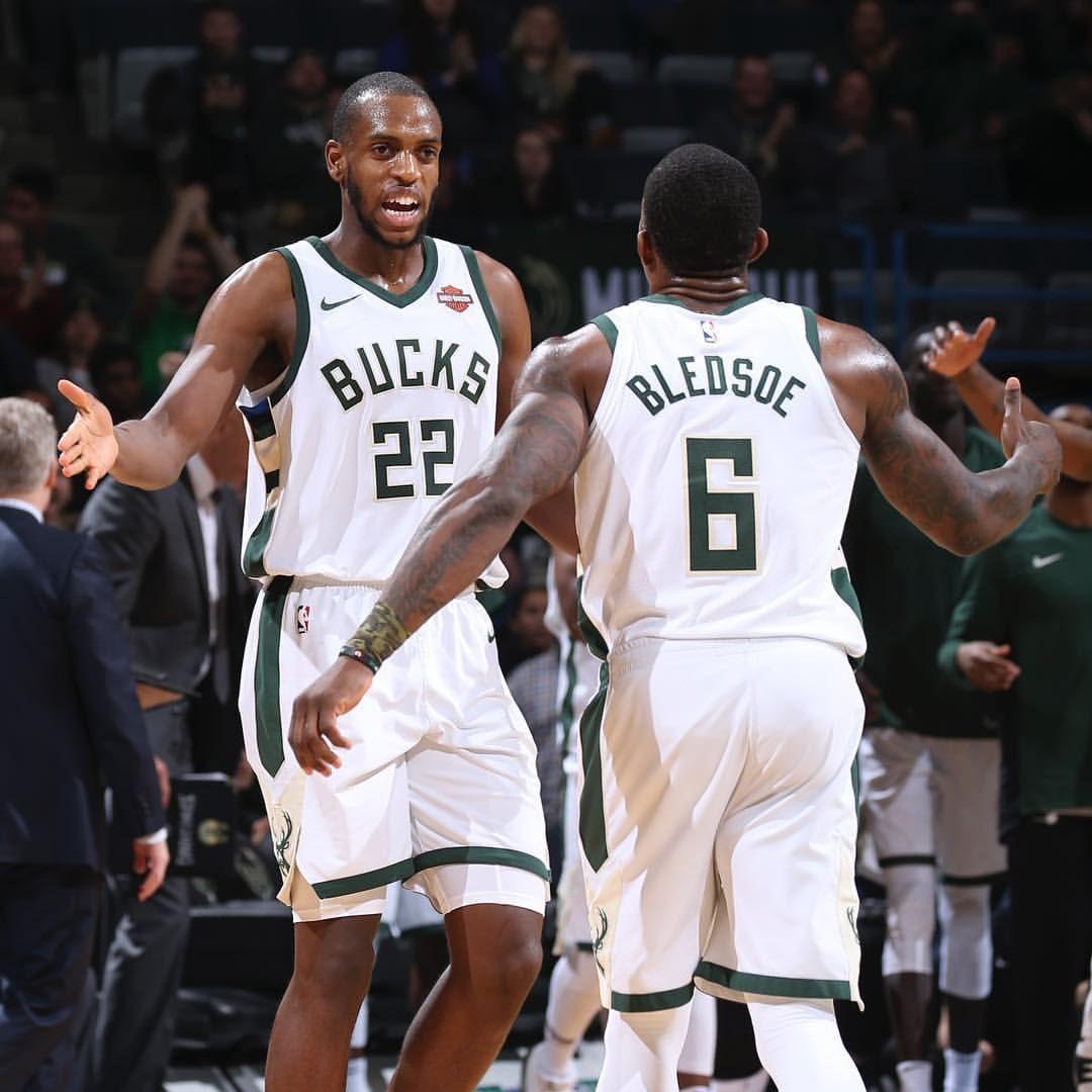 Khris Middleton And Eric Bledsoe Milwaukee Bucks Basketball Bucks Basketball Basketball Teams