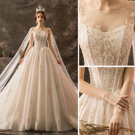 9d923503be293 Luxury / Gorgeous Champagne Wedding Dresses 2019 A-Line / Princess ...