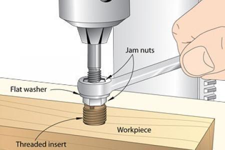 Hand w/wrench tightening jam nut,