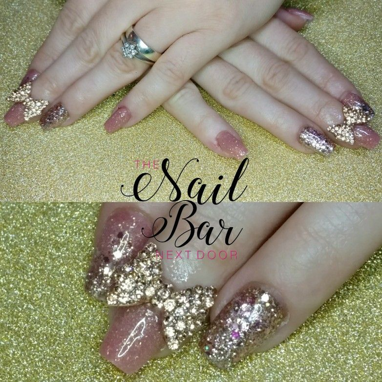 Rose gold acrylic nails using CJP, a custom glitter mix and huge ...