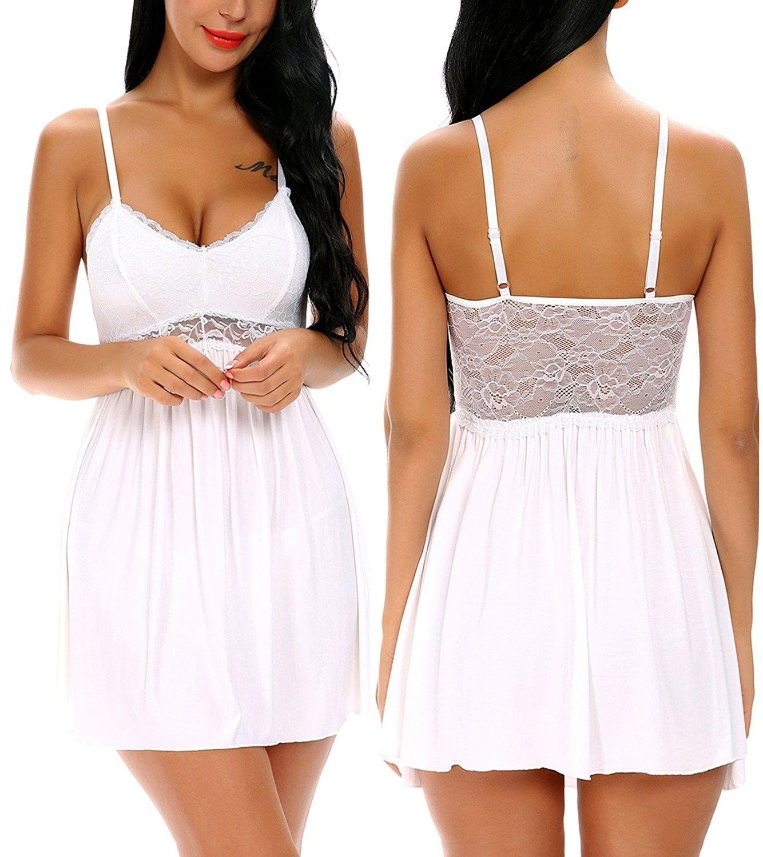 Women Lace Lingerie Sleepwear V Neck Full Slip Babydoll Nightgowns ... d158d5e24