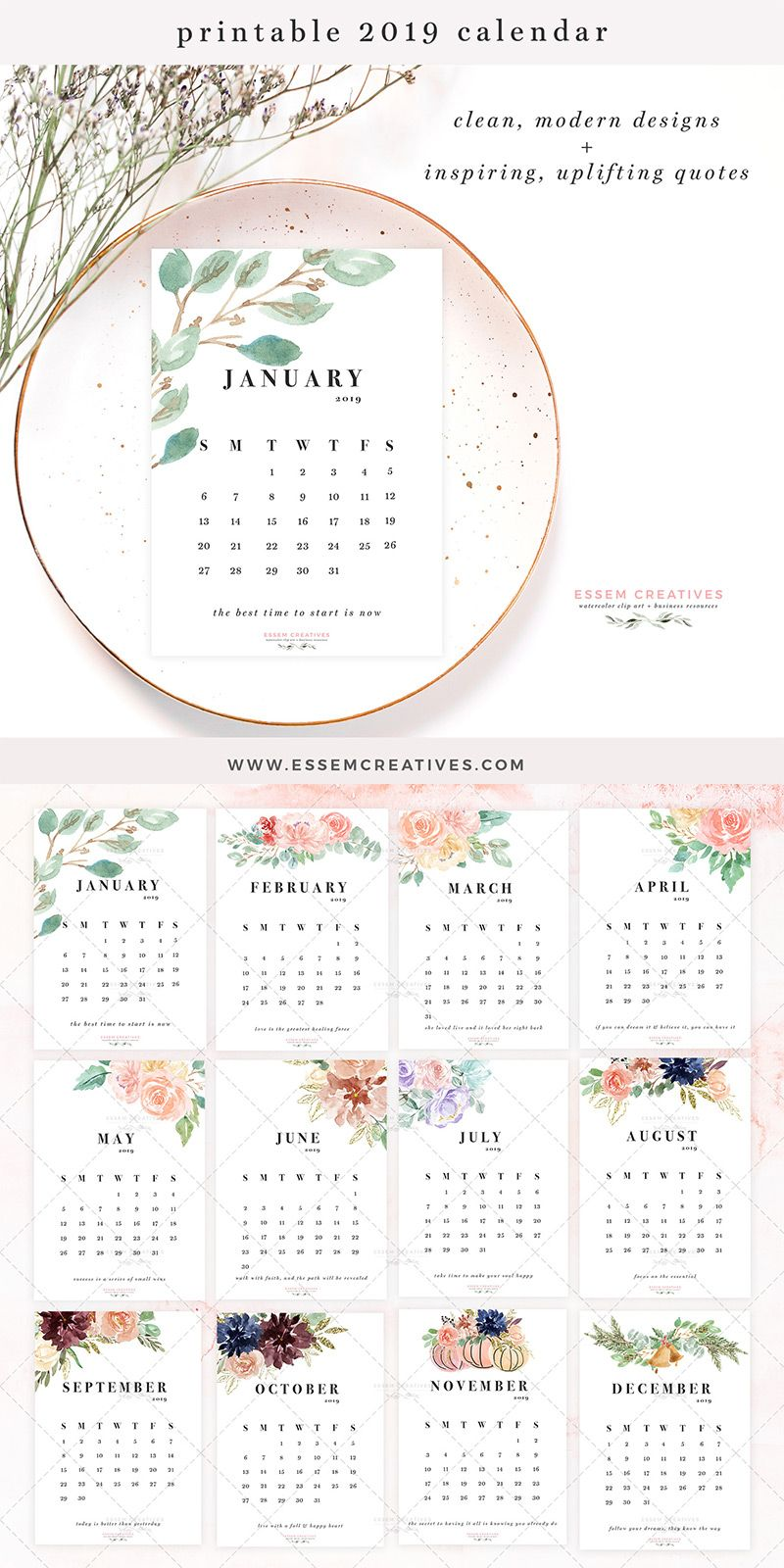 Printable Floral Watercolor Calendar 2019 5x7 Inch Desk Wall