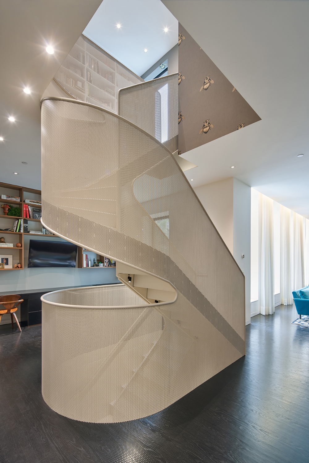 Workac Adds Curving Perforated Steel Staircase To Brooklyn Apartment Dezeen In 2020 Brooklyn Apartment Unique Floor Plans Staircase