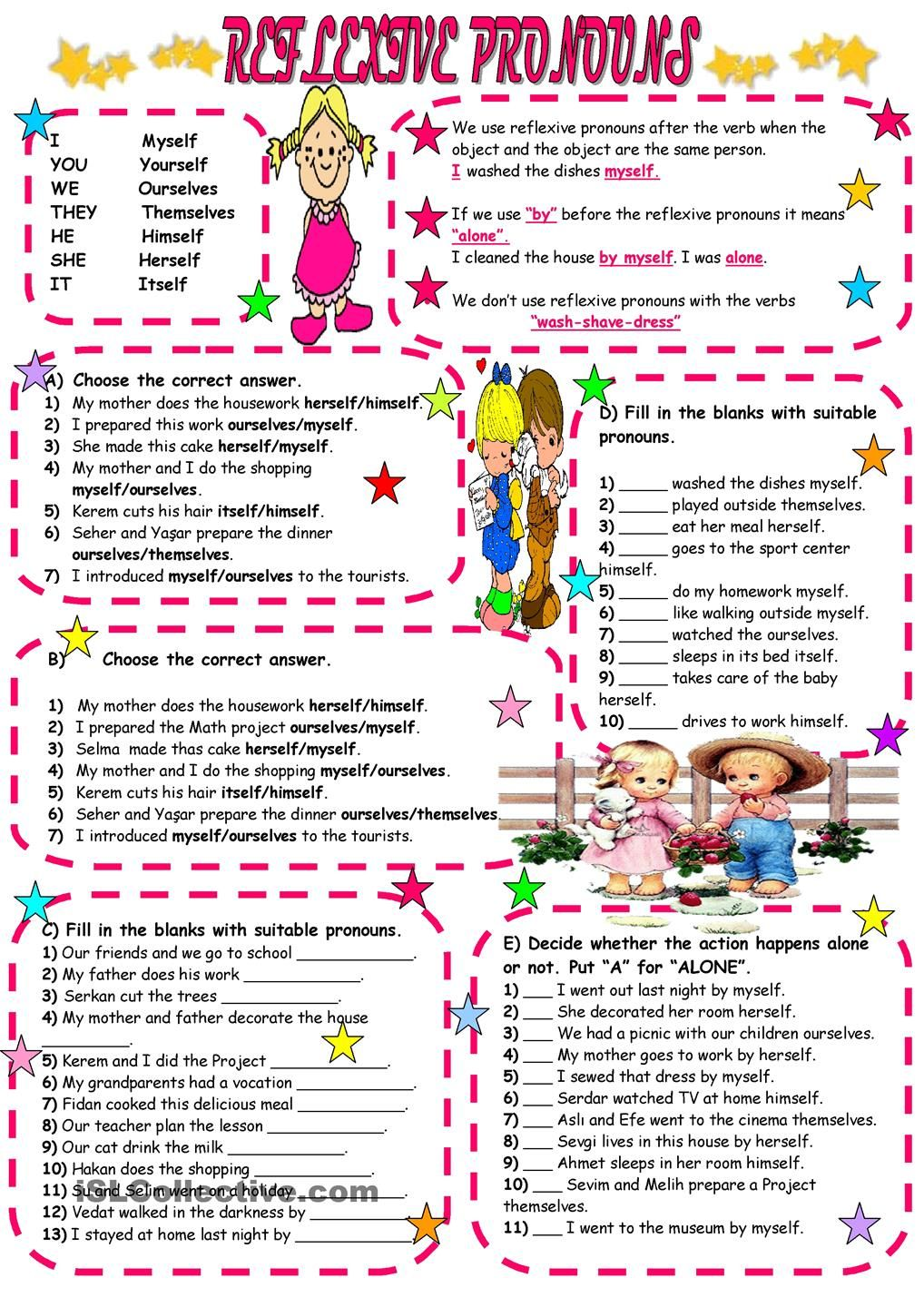 worksheet Reflexive Pronoun Worksheets 1000 images about pronouns on pinterest printed teaching and esl