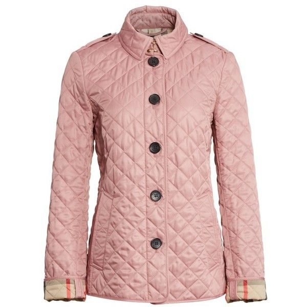 Women S Burberry Ashurst Quilted Jacket 595 Liked On Polyvore Featuring Outerwear Jackets Pink Jacket Pink Quil Checkered Jacket Quilted Jacket Jackets
