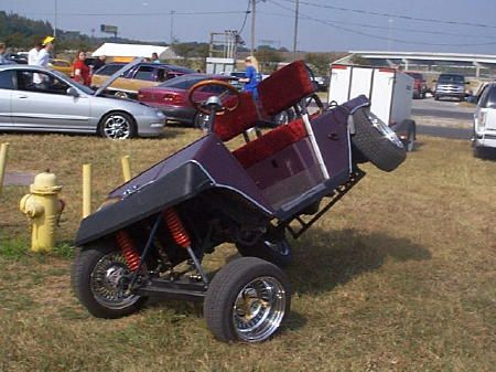 lowrider golf cart slammed golf carts golf the i m gonna be building a lowrider golf cart soon gonna do 4 pumps and 4 batteries and run it at 48 volts i just don t know how the suspension is set