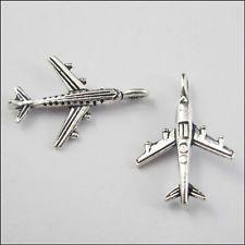 £1.99 - 25Pcs Tibetan Silver Tone Airplane Charms Pendants Craft DIY 15.5x22.5mm L796-01