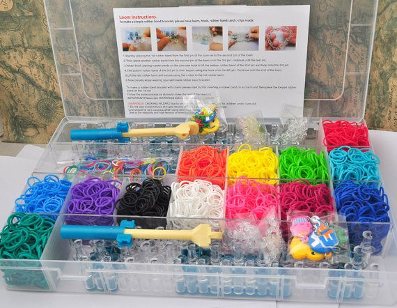 On Sale mother & girl rainbow rubber loom kit DIY case 4200pcs+ rubber bands rubber bangles diy girls gift idea