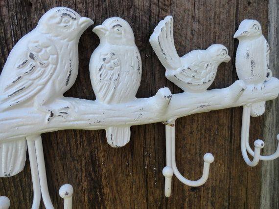 3 Cast Iron GARDEN BLUE BIRDS Coat Hooks Hook Rack Towel DOVES BIRD 1 HOOK