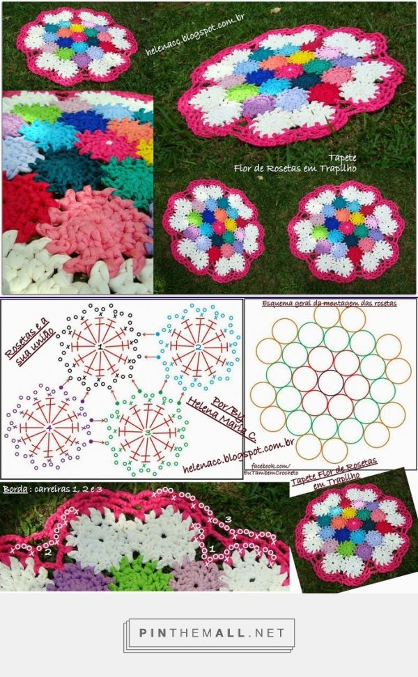 Crochet rug of multicolored flowers with t shirt yarn - created via http://pinthemall.net