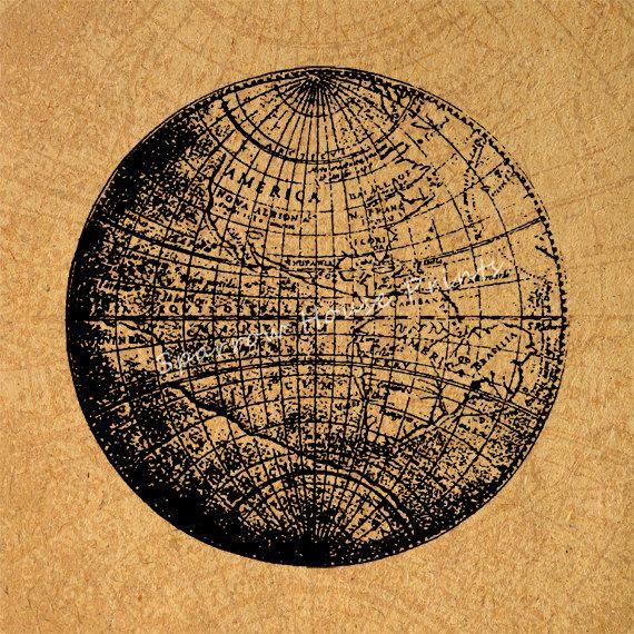 Antique Print Globe Wall Art World Planet Earth Map Home Decor ...