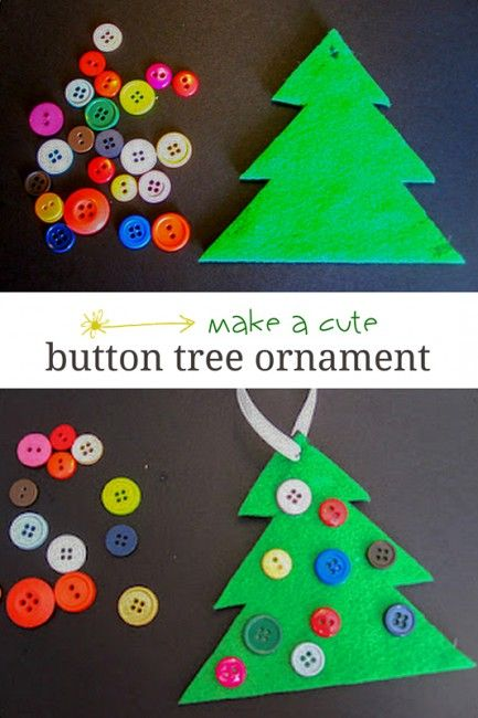 Christmas Crafts For Kids.Button Christmas Tree Ornament Cute Simple Preschool