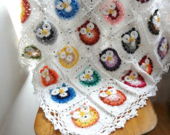 Owl Crochet Baby Blanket PDF pattern,photo tutorial, crochet owl pattern, crochet owl, colorful blanket, baby blanket, afghan, heirloom