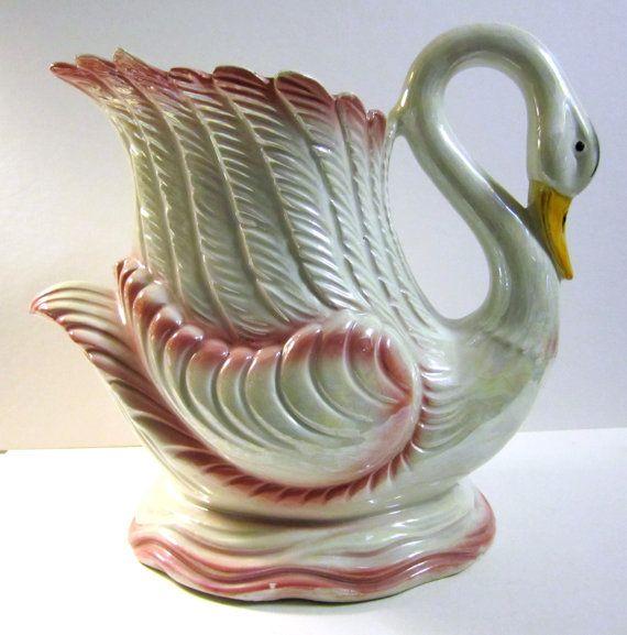 Reserved For Deb Large Vintage Swan Flower Vase Etsy Flower Vases Swan Figurine Swan Pictures