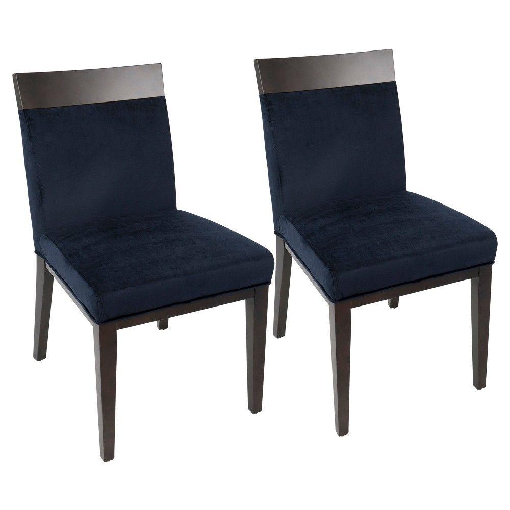 Denver contemporary dining chair navy blue velvet set