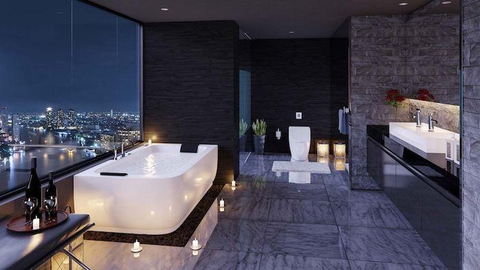 Badezimmer Fenster ~ Moderne bäder bad mit großem fenster graue keramifliesen