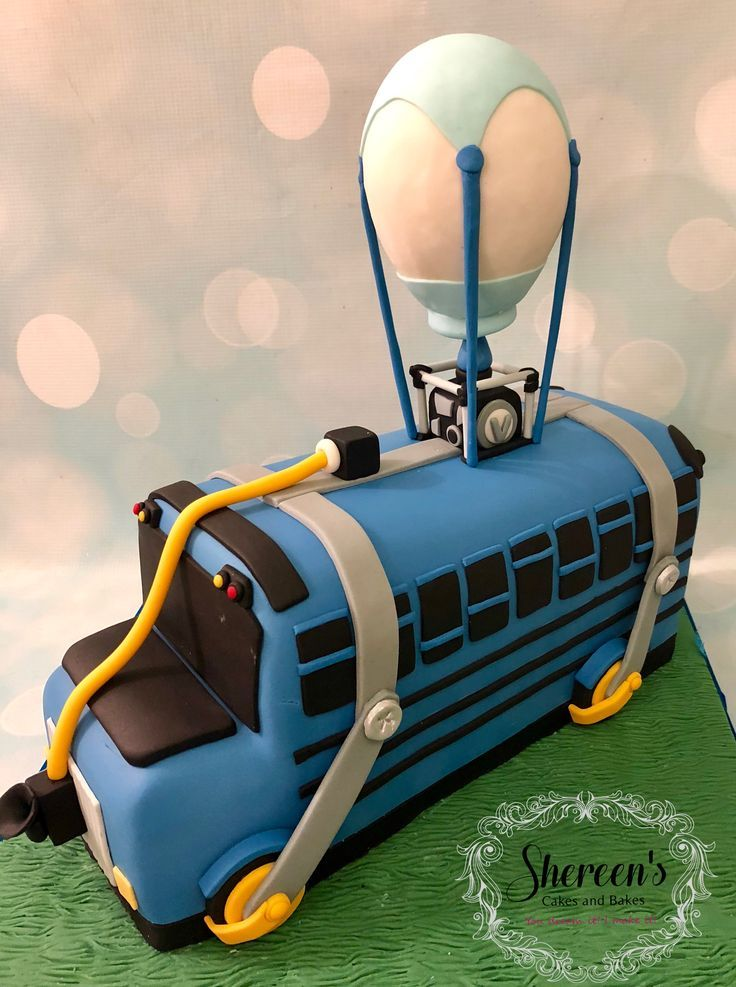Fortnite battle bus novelty birthday cake with images