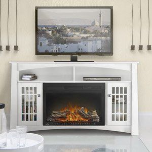 Adele Electric Fireplace Media Console In White Nefp27