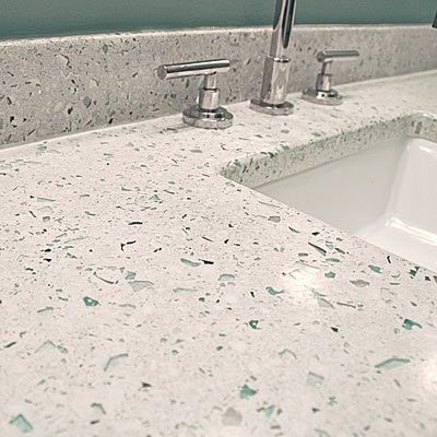 A 705 Powder Room Revamp Recycled Glass Countertops Diy Concrete Countertops Concrete Countertops Kitchen Diy