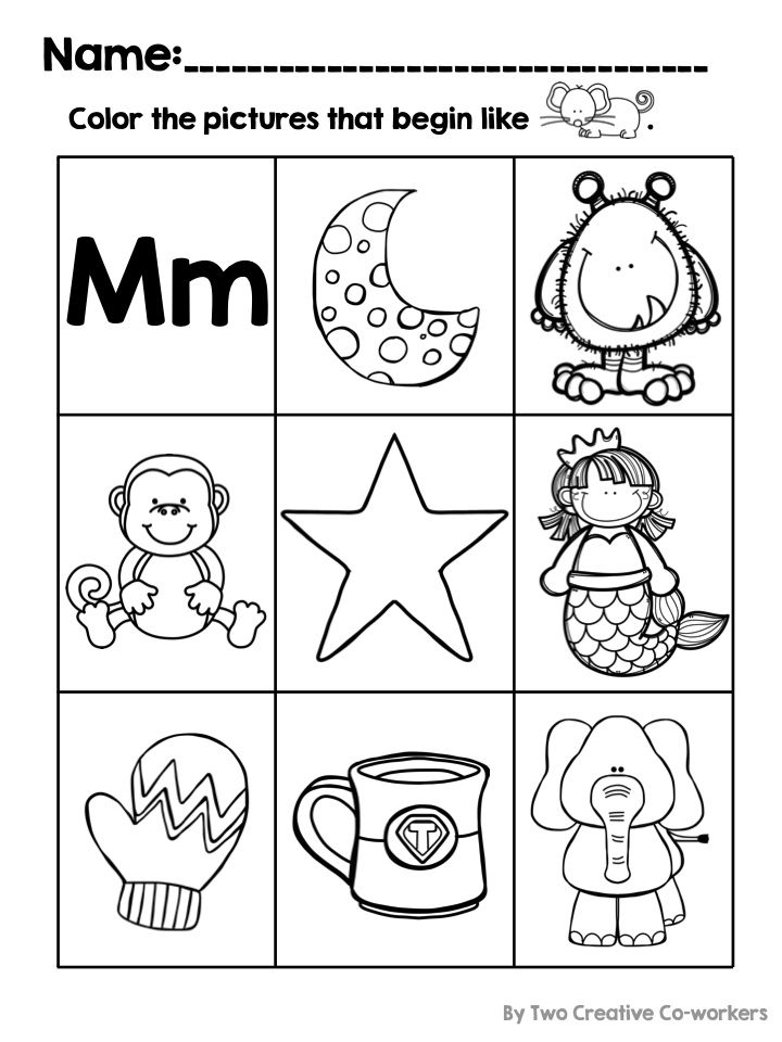 Students can identify and color pictures that begin with the letter ...
