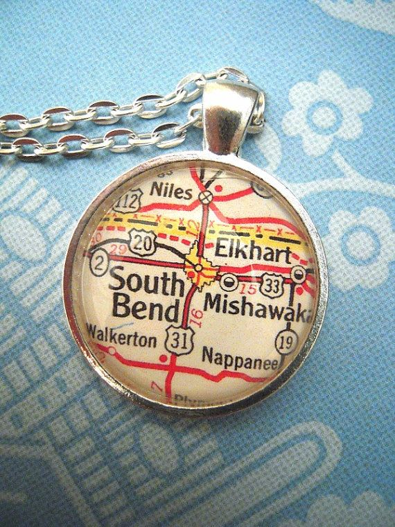 Custom map jewelry south bend indiana notre dame vintage map custom map jewelry south bend indiana notre dame vintage map pendant necklace personalize map jewelry map cuff links groomsmen gifts aloadofball Images