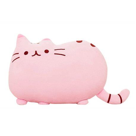 Coussin kawaii chat rose 34 cm