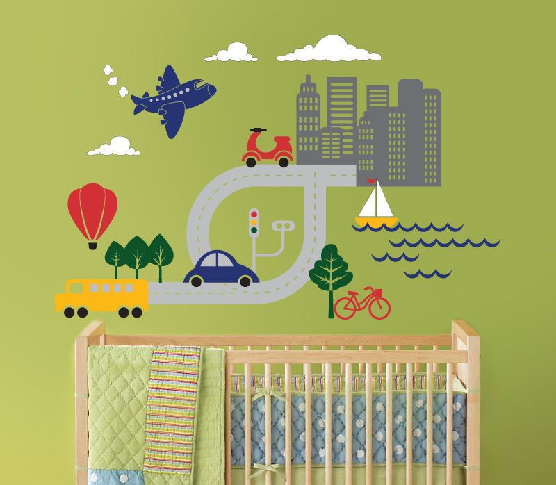 Transportation Scene, Car, Boat, Airplane Wall Decal for Baby ...