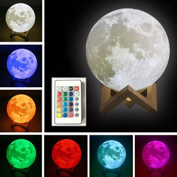 Decbest 3d Moon Lamp 16 Color Changing Usb Charging Led Night Light Touch Sensor Remote Control Is Multicolor Newchic Led Night Light Night Light Night Lamps