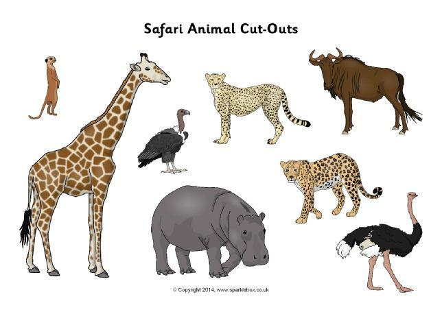 Safari animal cut-outs (SB10301) - SparkleBox | Állatok / Animal ...