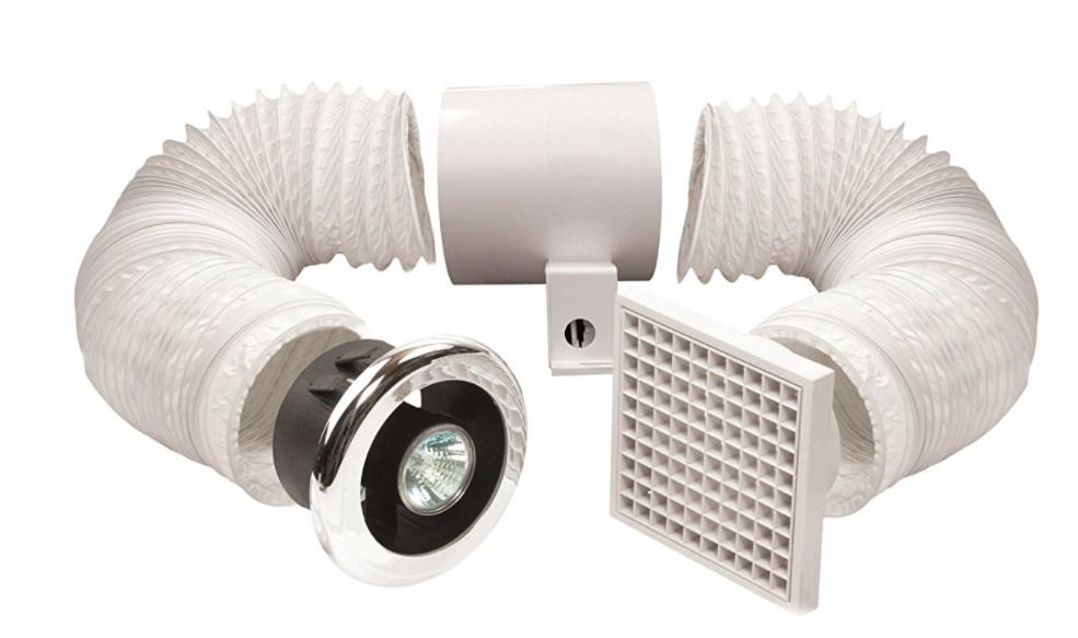 Bathroom Fan Extractor Kit With Light 100mm Chrome White Quiet Humidity Tolerant Bathroomfanextractorkit Shower Fan Light Fan Light Kits Extractor Fans