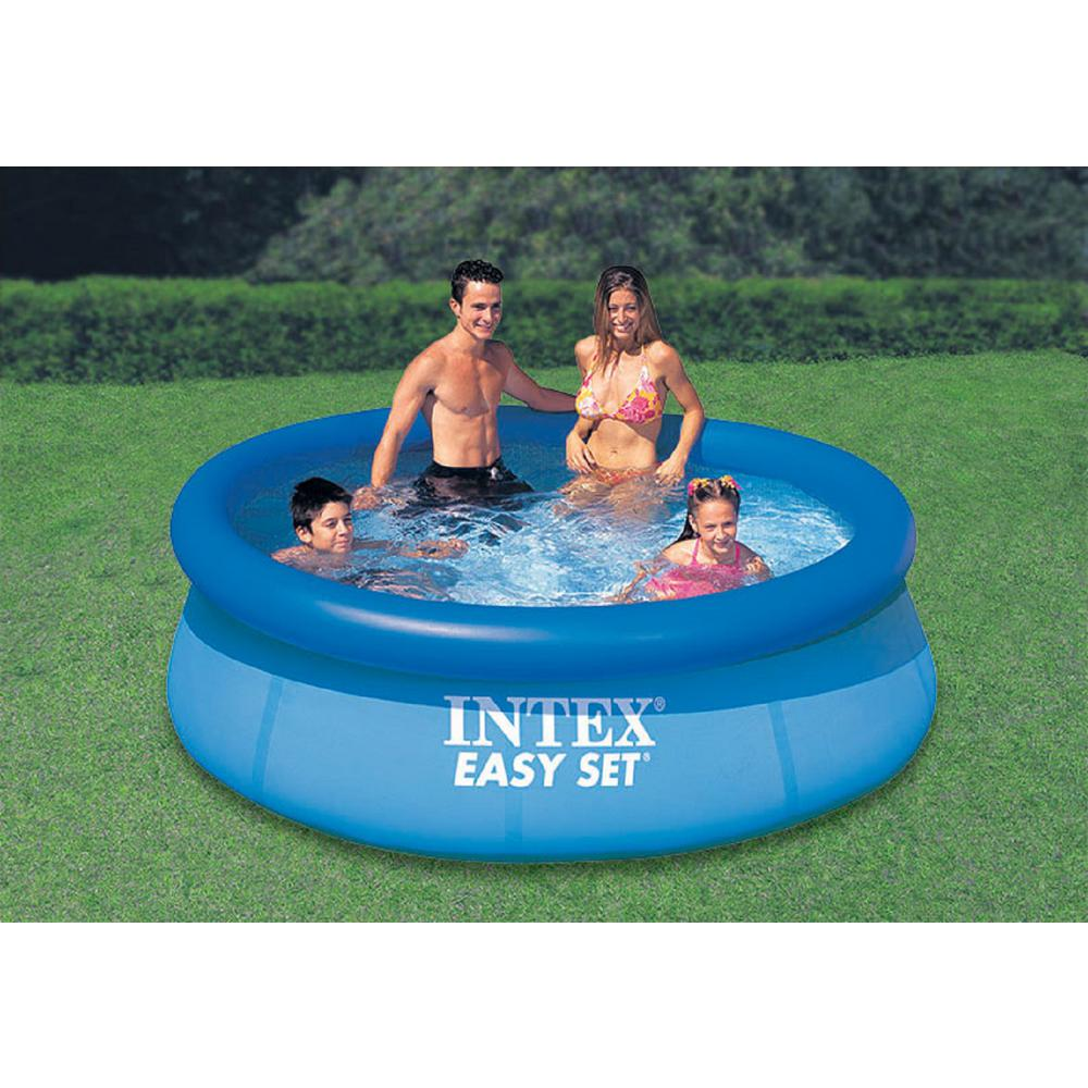 Intex Easy Set 8 Ft Round X 30 In Deep Inflatable Pool 28110eh The Home Depot Easy Set Pools Inflatable Pool Swimming Pools