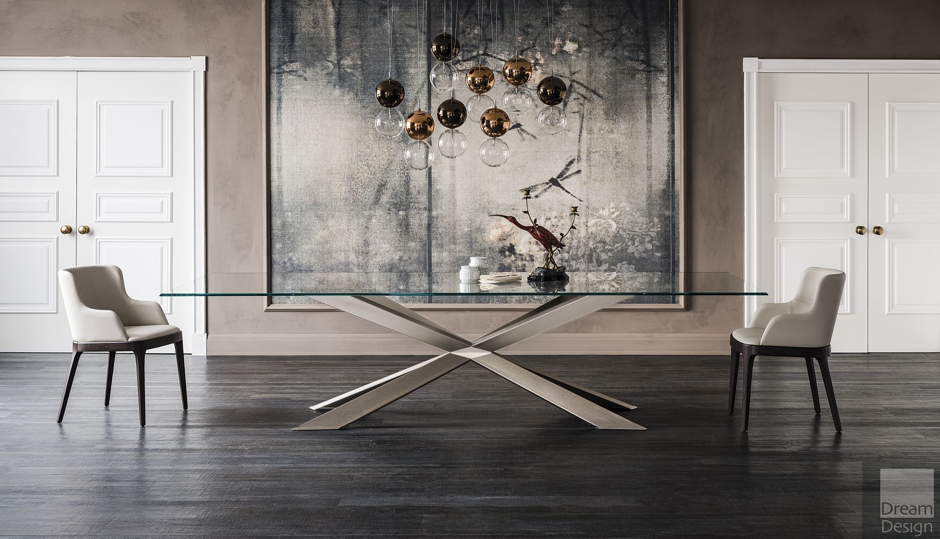 Cattelan Italia Spyder Glass Rectangular Table Modern Glass Dining Table Dining Table Italian Furniture