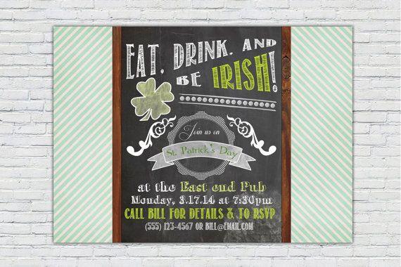 St PatrickS Day Chalkboard Invitation Pub Crawl On Etsy
