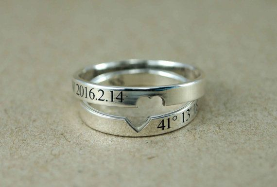 5c774ea601 Couple Rings, Couple Ring Set, Promise Rings For Couples, His and Hers, Promise  Ring, Custom Coordinates Ring, Location Ring, Heart Ring