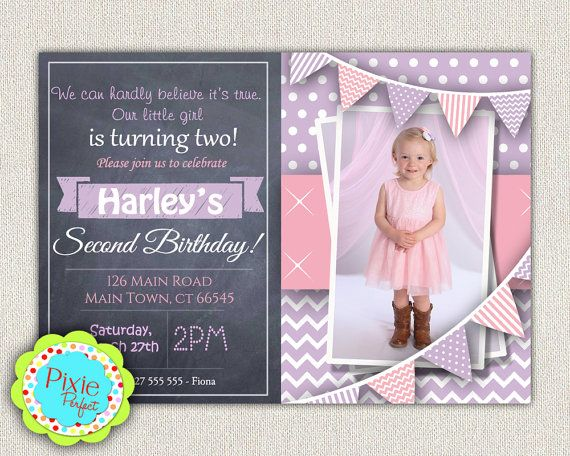 2nd Birthday Invitation Purple And Pink By Pixieperfectparties