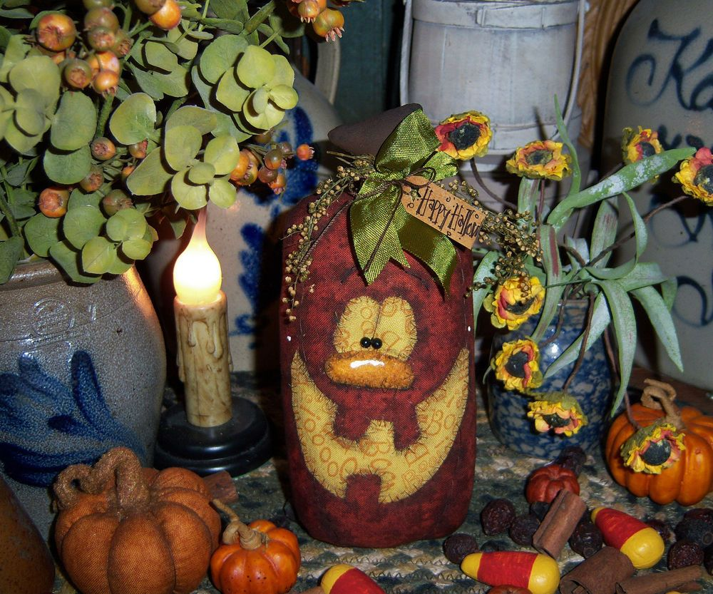 Primitive Halloween Harvest Pumpkin 7\ - Primitive Halloween Decor