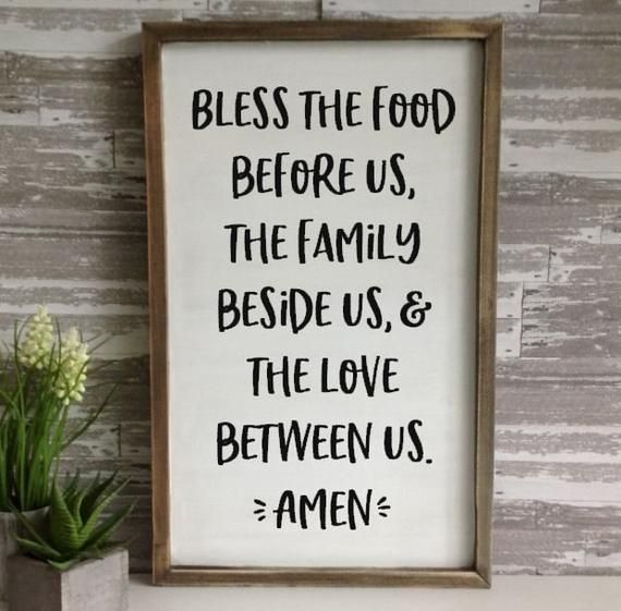 Bless the food before us sign farmhouse framed wood signs ...