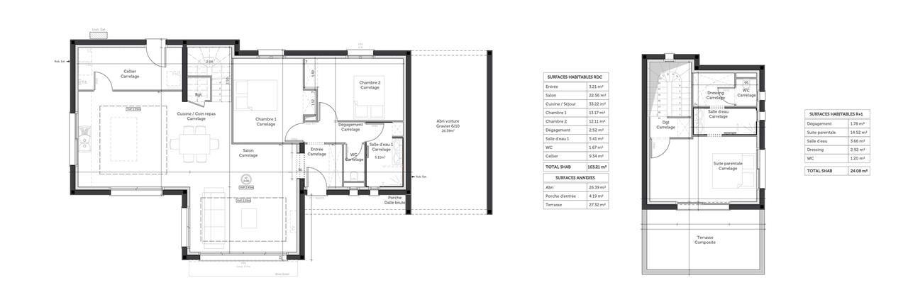 Plan de la construction - toit terrasse 120m2 habitables Maison - plan maison en l 100m2