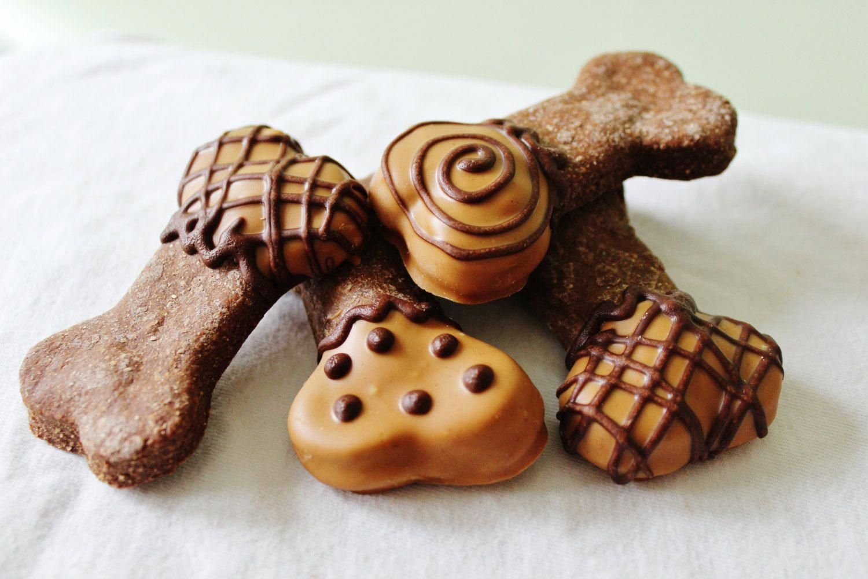 Peanut Butter Dipped Carob Dog Treats Homemade Gourmet Dog Treats