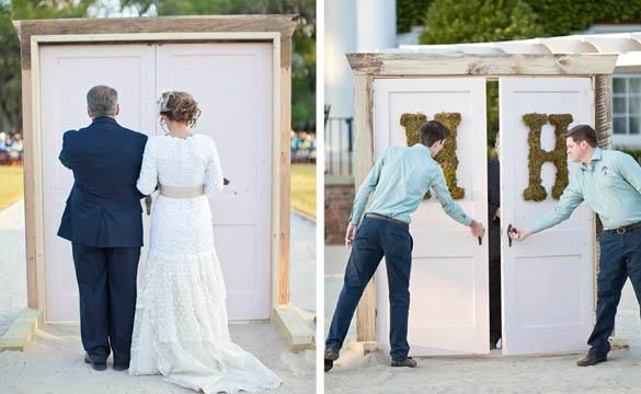doors to hide the father and bride before they walk down the aisle! absolutely love the suspense it creates & Vintage-Handmade Southern Real Wedding   Father Doors and Create